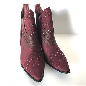 Matisse Storm Burgundy Studded Cowboy Ankle Boots